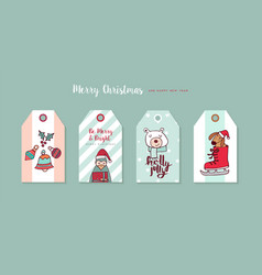 christmas and new year cartoon holiday label set vector image vector image