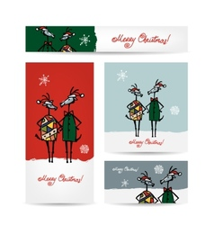 Couple of funny goats Christmas cards 2015 design vector image