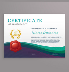 elegant certificate design template with wavy vector image vector image