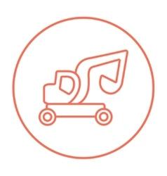 Excavator truck line icon vector