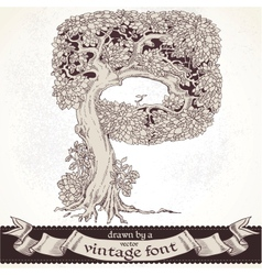 Fable forest hand drawn by a vintage font - P vector image vector image