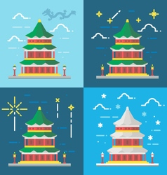 Flat design 4 styles of summer palace beijing chin vector