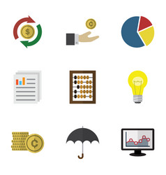 Flat icon finance set of chart parasol counter vector