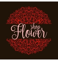 Flowers shop logo with red mandala vector