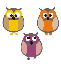 Funny colorful owls vector