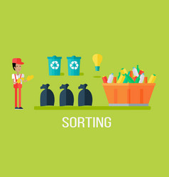 Garbage sorting concept vector