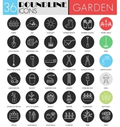 Garden tools circle white black icon set vector image