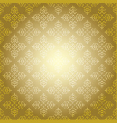 Gold vintage pattern on yellow background vector
