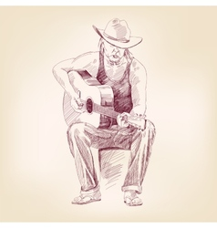 Guitarist hand drawn llustration realistic sketch vector