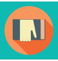 Hand with book Knowledge education flat concept vector image