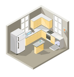 Isometric design of a kitchen vector