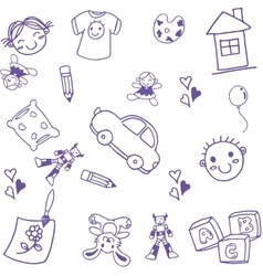 Many toy kids doodle art vector