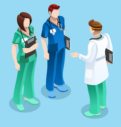 medical doctor talking with two nurses isometric vector image