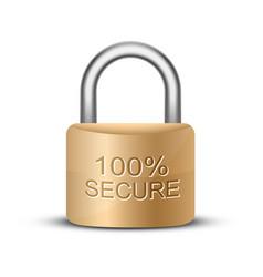 Metallic padlock 100 secure vector