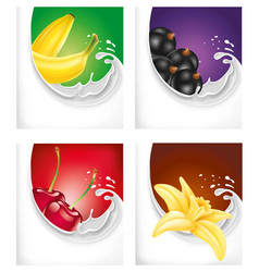 milk splash with black current banana cherry vector image vector image