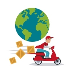 Motorcycle and package icon Delivery design vector image vector image