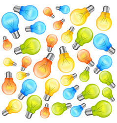 multi-colour light bulbs on white background vector image