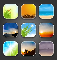 Natural landscapes for the app icons vector