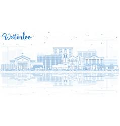 Outline waterloo iowa usa city skyline with blue vector