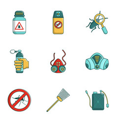 Pest control icons set cartoon style vector
