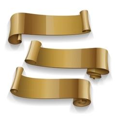 Realistic gold glossy ribbons set vector