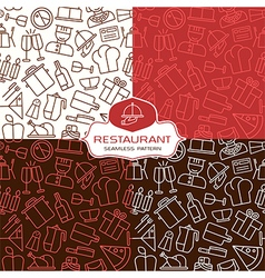 Restaurant seamless patterns in thin line style vector image