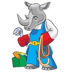Rhinoceros is the plumber vector image vector image