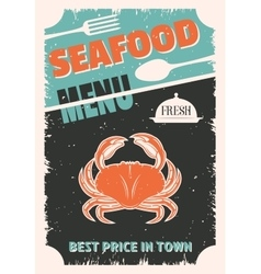 Seafood retro style poster vector
