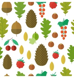 Seamless pattern with nuts and berries vector