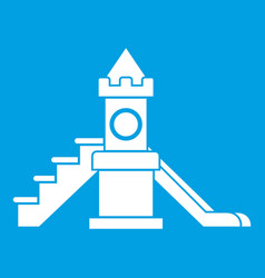 Slider kids playground equipment icon white vector