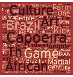 The martialarm intro to capoeira text background vector