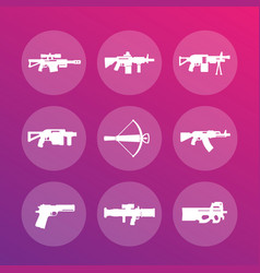 Weapons firearms icons vector