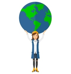 Woman holding globe vector image