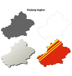 Xinjiang uyghur outline map set - chinese version vector