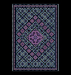 Oriental bluish carpet with colored ornament vector