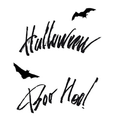 Happy helloween lettering handwritten isolated vector