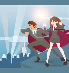 Man and women superhero with sunlight vector
