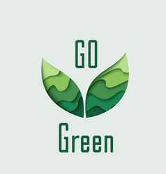 Go green paper cut leaves vector