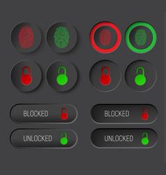Design dark of round buttons and rectangular vector