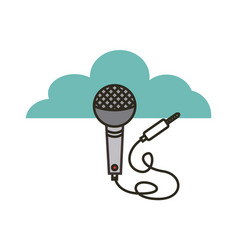 Microphone with cord icon vector
