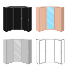 Pink wardrobe with two doors and a mirrorbedroom vector