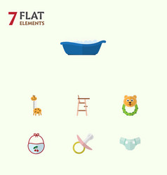Flat kid set of pinafore nappy child chair and vector