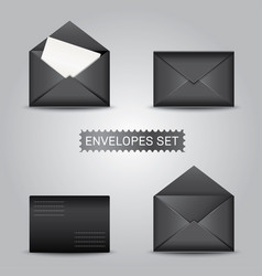 set black envelopes open and closed envelope vector image