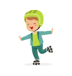 roller skating boy kid in rollerblades colorful vector image