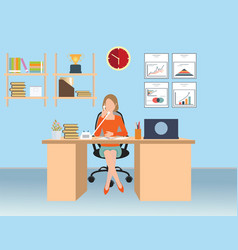 Businesswoman talking on the phone in office vector