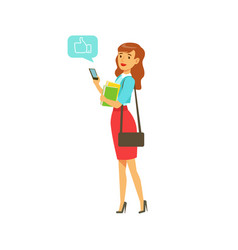 Young elegant woman standing and sending a message vector