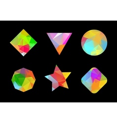Set of colored geometric polygonal shapes vector