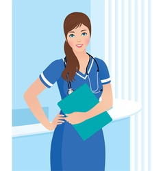 Smiling nurse or doctor at the clinic interior bac vector