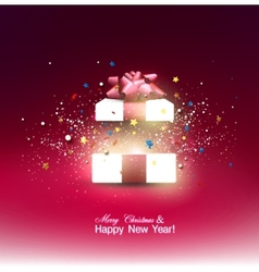 Beautiful open Christmas gift with red bow and vector image
