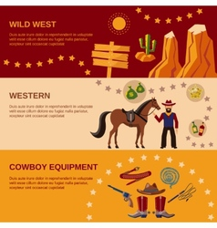 Cowboy banners flat vector image